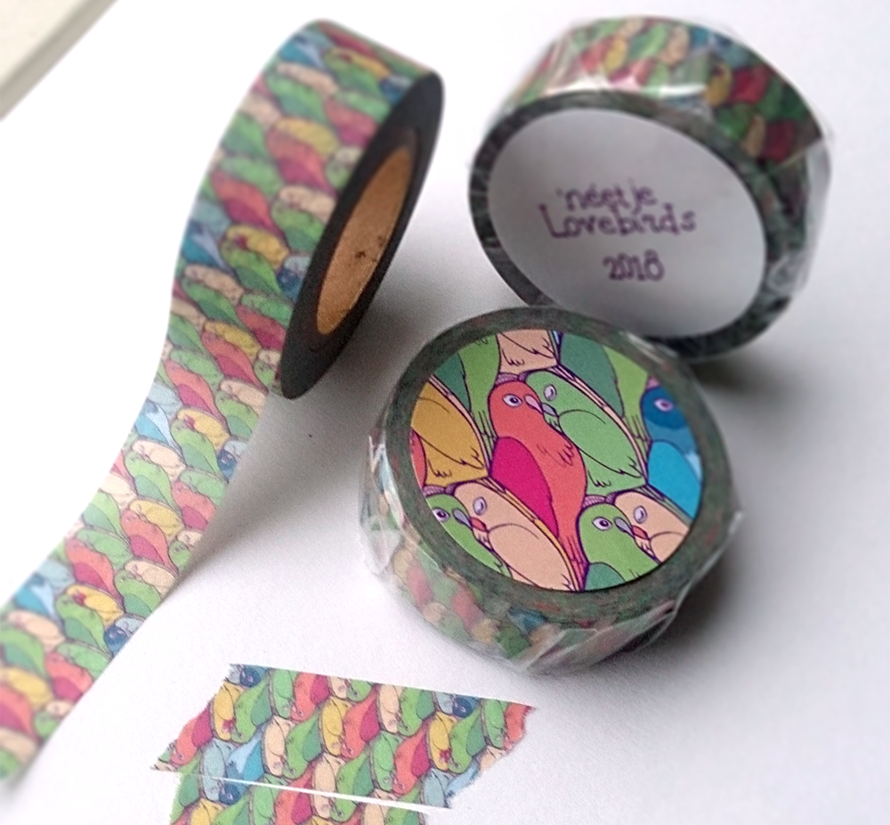 Photo of lovebirds pattern washi tape