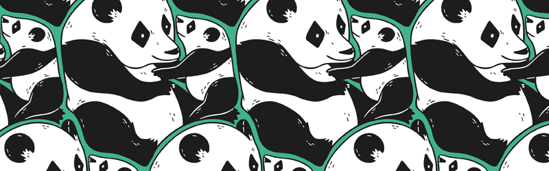 banner illustration panda pattern with green